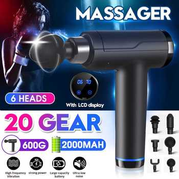 3200r/min 20 Gears LCD Display Massage Muscle Relaxation Massage Gun At Home Charging Deep Dynamic Therapy Vibrator With 6 Head