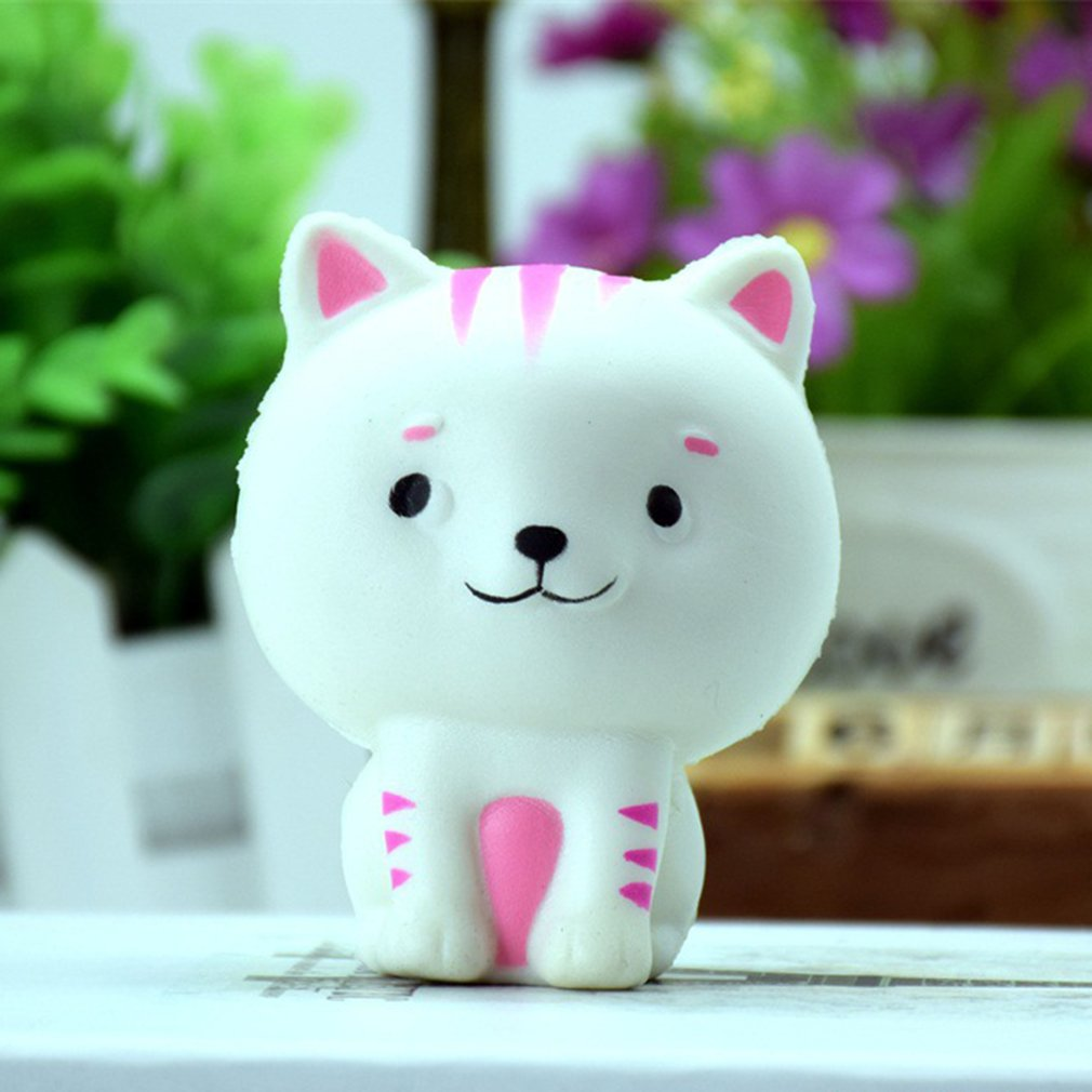 Slime Toys Small Cat Shape Squishy Slow Rising Squeeze Phone Straps Ballchains Decompression Toys Stress Ball