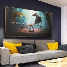 Elefante brincalhão na gangorra moderna pintura em tela mural animais fotos nórdico cartazes e impressões decoração da sua casa