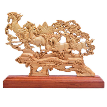 23CM Eight Horses statue Wood Animal Figurines Home Decoration Wooden Collection Gifts boat Ship accessories decors