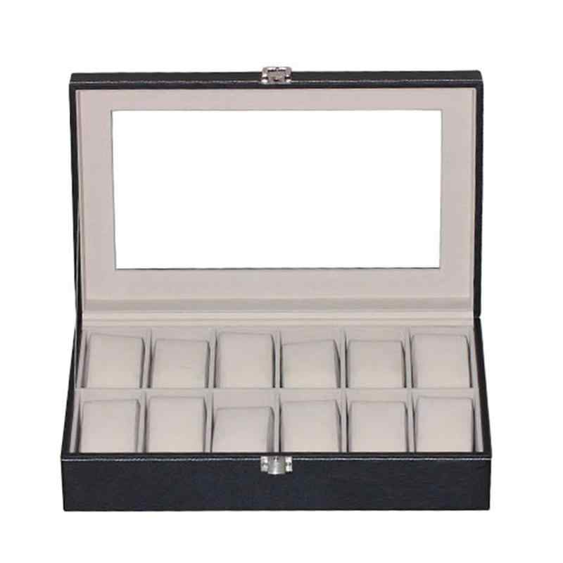 12 Slots Watch Box Portable Travel Jewelry Bracelet Storage Case Organizer