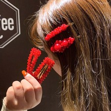 1PC 2019 Fashion Red Pearl Hair Clip for Women Elegant Korean Design Snap Barrette Stick Hairpin Styling Accessories