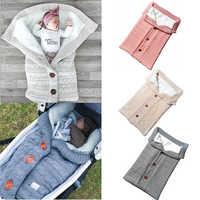 Bebê recém-nascido inverno envelopes sacos de dormir quente para carrinho de criança malha footmuff sleepsacks swaddle envoltório saco de dormir