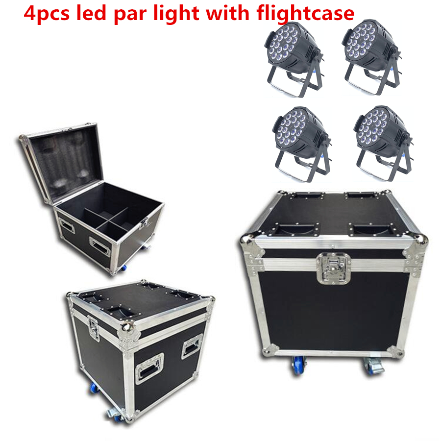 Flight Case With 4pcs Led Par Light 18x18w 6in1 Rgbwa+uv  DJ Par Cans Dmx 512 Dmx Strobe Wash Lighting Stage Lighting Effects