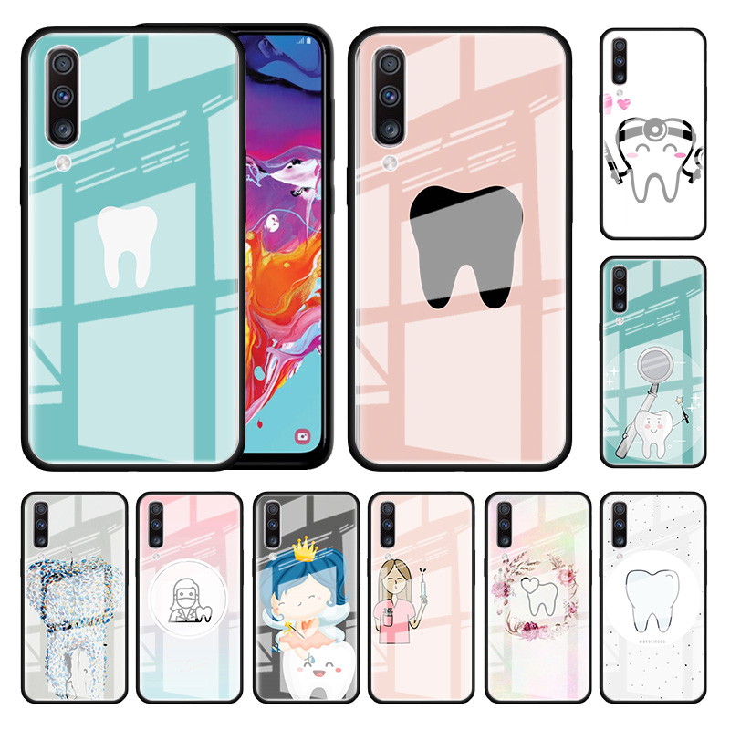 Dental <font><b>Glass</b></font> <font><b>Case</b></font> For <font><b>Samsung</b></font> Galaxy A70 <font><b>A50</b></font> A51 M51 A20 A10 A11 A31 A71 M31 M21 Stalinite Phone Covers image