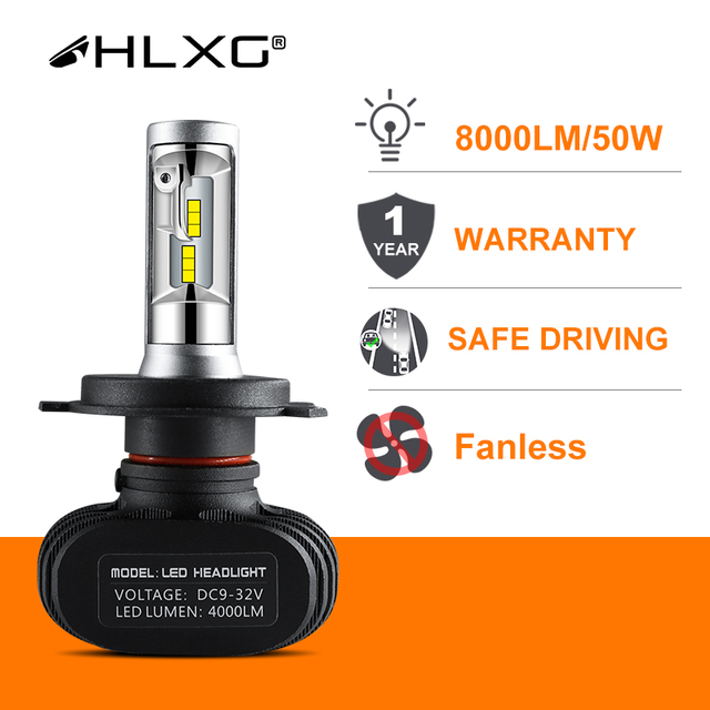 Hlxg 2 adet CSP H8 H11 lamba H4 Led H7 H1 H3 araba kafa lambası ampulleri otomatik S1 N1 H27 881 HB3 HB4 otomotiv 12V 50W 8000LM 6000K