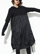New Spring Fall Women Asymmetrical Dress Long Sleeve Fold Split Hooded Black Drawstring T Shirt Dresses