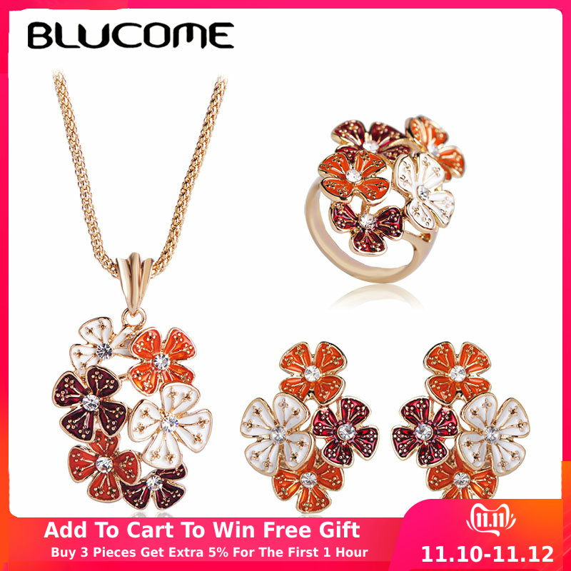 Blucome Fashion Orange Enamel Flower Necklace Earrings Rings Gold Color Jewelry Sets Women Bridals Banquet Wedding Accessories