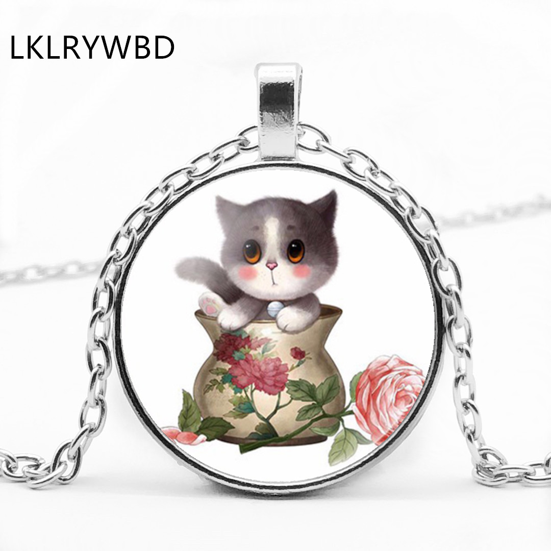 LKLRYWBD / Retro Cute Cat Round Glass Necklace Cartoon Pendant Jewelry