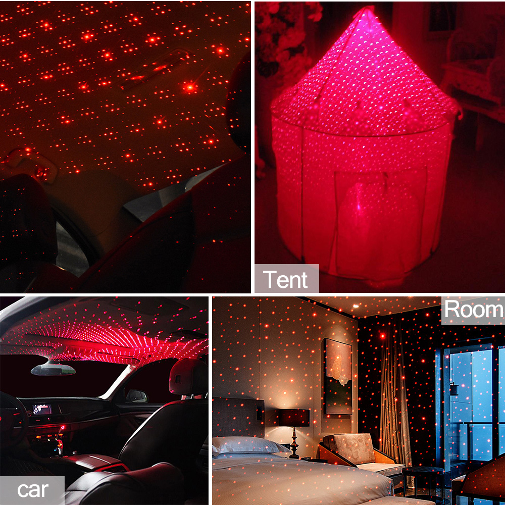 Upgrade USB Night Lights Adjustable Romantic Starry Projector Car Interior Ceiling Lights Car Bedroom Camping Party Decor Light Sound Control Strobe Green