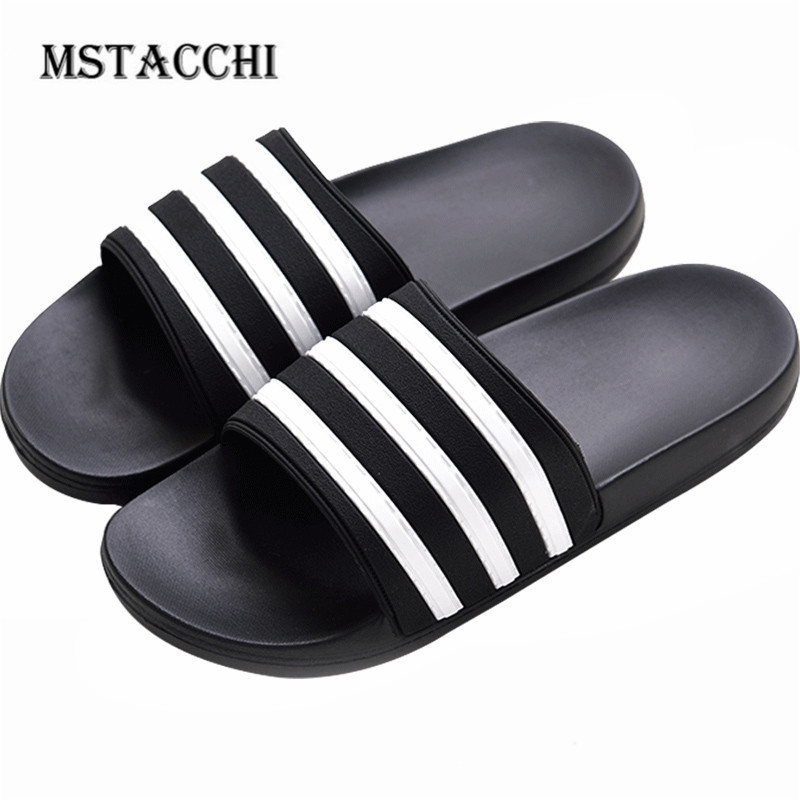 MStacchi Fashion Stripes Men Flip Flop Summer Interior Couples Home Non-Slip Bathroom Bath Slippers Outdoor Beach Male Sandals