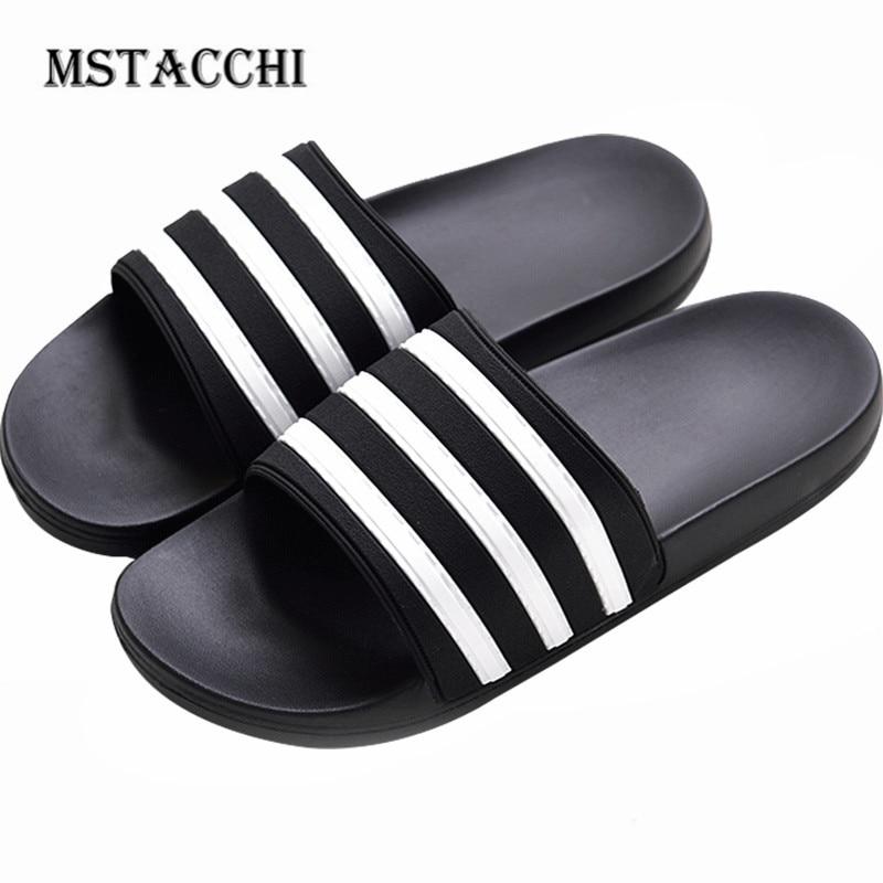 MStacchi Fashion Stripes Men Flip Flop Summer Interior Couples Home Non-Slip Bathroom Bath Slippers Outdoor Beach Male Sandals