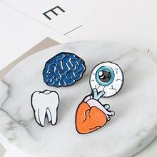 Милая брошка мультфильм булавки человеческие органы медицинский мозговой глаз сердце эмаль значок булавки на лацканы для женщин девочек одежда сумка