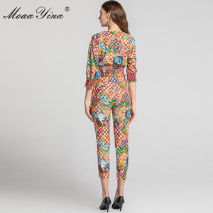 Image 5 - MoaaYina Fashion Designer Set Spring Summer Women V neck Vintage Baroque Print Tops+Pencil pants Two piece suit