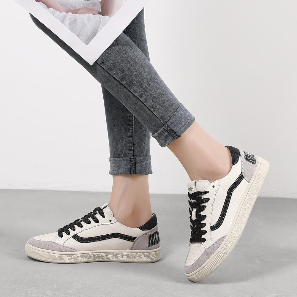 3 Colors Women Casual Shoes Comfortable Gold Black Sneakers Fashion Lace-Up Leather Flats Shoes