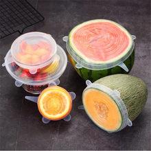 Tapas De Silicona reutilizables Para Alimentos, cubiertas elásticas Para utensilios De cocina, 6 uds.