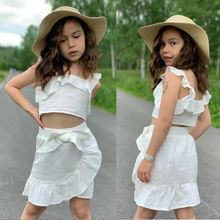 Summer Casual Kids Baby Girl Set Clothing Off Shoulder Shirt Crop Tops+Bow Tie Tutu Skirt 2PCS Children Striped Outfits 2pcs lot spring autumn baby little girls knitted ruffle skirt suits children kids girl jersey skirt sweater bow tie frillies