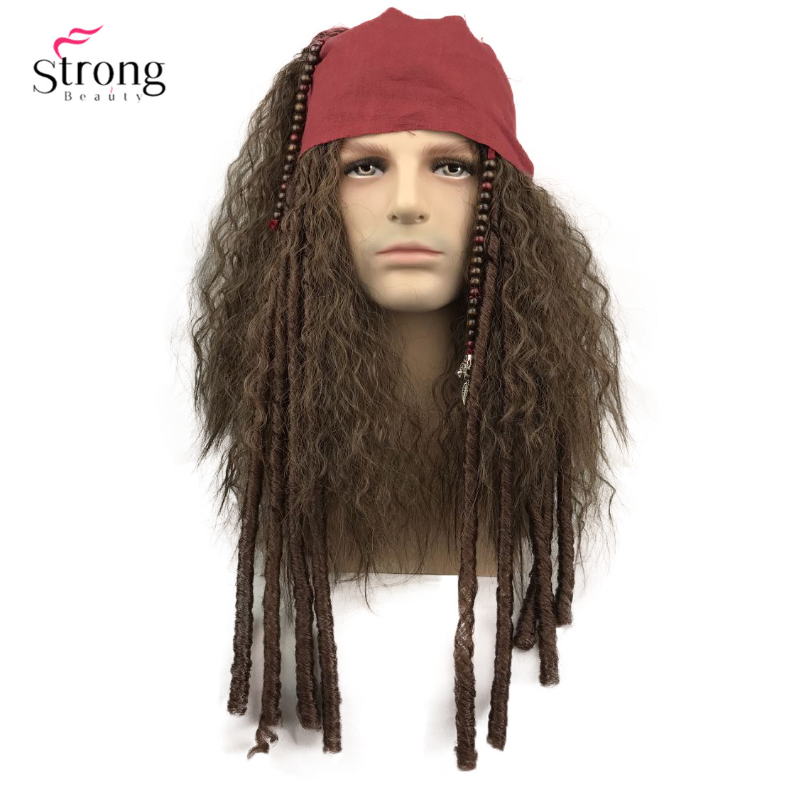 StrongBeauty Pirate Wig Cosplay Jack Sparrow Captain Wigs And Complete Accessories Synthetic Hair