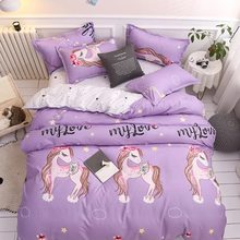 Light Purple Unicorn 4pcs Bedding Set Winter Four Pieces One Quilt Cover One Bed Sheet Two Pillowcases King Size Bedding Set(China)