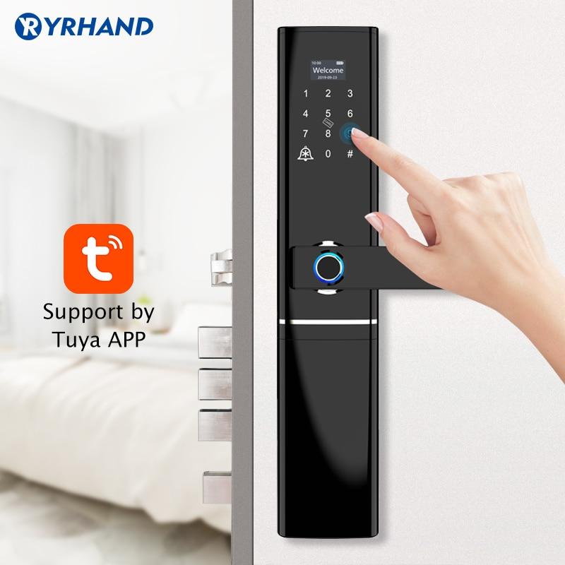 Tuya APP Fingerprint Smart Door Lock  Wifi Code Card Key Intelligent Electronic Lock With Doorbell For Home Security