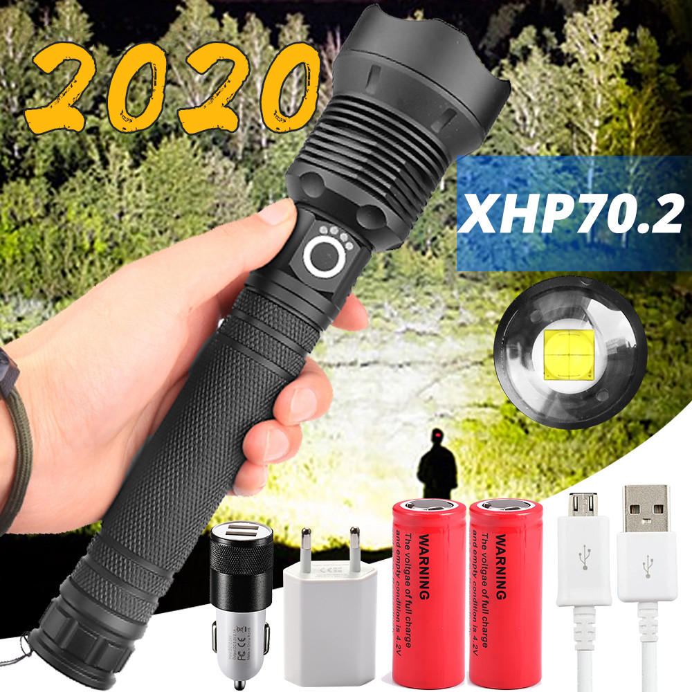 Most Powerful LED Flashlight XLamp XHP70.2 USB Zoomable 3 Modes Torch XHP70 XHP50 18650 26650 Rechargeable Battery Drop Shipping