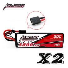 CNHL Racing – batterie Lipo 5000mAh, 3S 30C, 11.1V, avec prise TRX, pour Traxxas Axial RC Truggy Racing Slash 4x4, 2 unités
