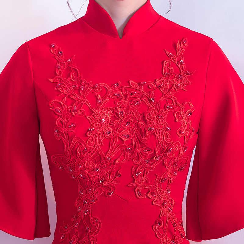 Красный невесты короткий Cheongsam женский свадебный Qipao модный элегантный в китайском стиле короткое платье роскошный халат Вечерние платья Vestido S-4XL