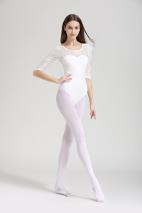 Image 3 - Frauen Ballett Trikot Hohe Qualität Medium Sleeve Spitze Ballett Tanzen Kostüm Erwachsene Ballett Overall Gymnastik Dance Trikots
