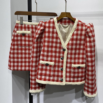 Chic women's plaid tweed coat 2020 Spring Fashion women's brand new high quality V-neck tweed jackets B733