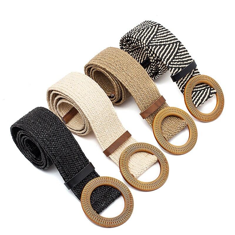 Straw Wide Belt Female Woven Vintage Round Wooden Buckle Decorative Dress Shirt Belt Beige