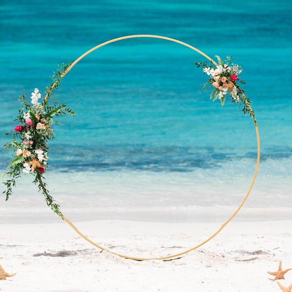 Circle Wedding Arch Artificial Flower Shelf Background Decoration Props Babyshower Birthday Party Balloon Iron Stand Arch Frame