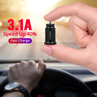 ROCK 5V 3.1A Mini Car Charger For iPhone Xr Xs  8 7 6 Dual USB Car Charger for Samsung Note 9 Xiaomi Car Phone Charger Adapter|Car Chargers| |  -