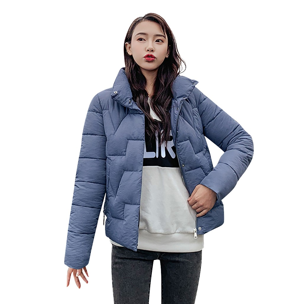 JAYCOSIN ladies fashion collar solid color cotton jacket autumn winter casual high jacket warm new hot daily versatile coat