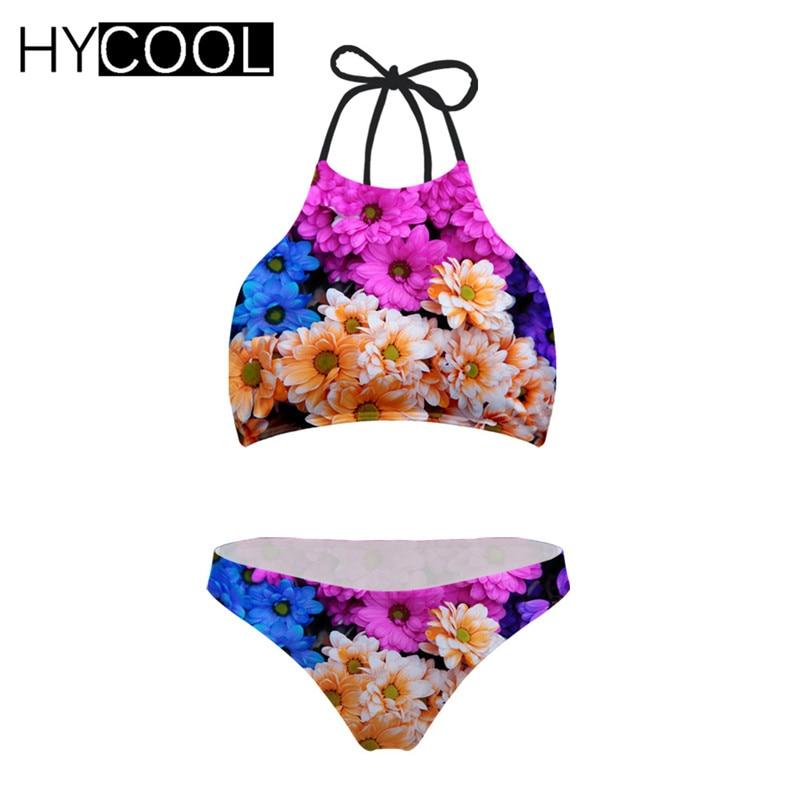 HYCOOL Bikini 2020 Swimming Suit For Women Flower Prints Swimwear Harajukus Style Women Swimsuit XXL