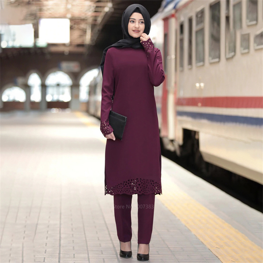 New Solid Islamic Woman Abaya Muslim Turkish Arabic Hollow Dress Mubarak Ramadan Prayer Clothing Long Sleeve Party Robe Kaftan