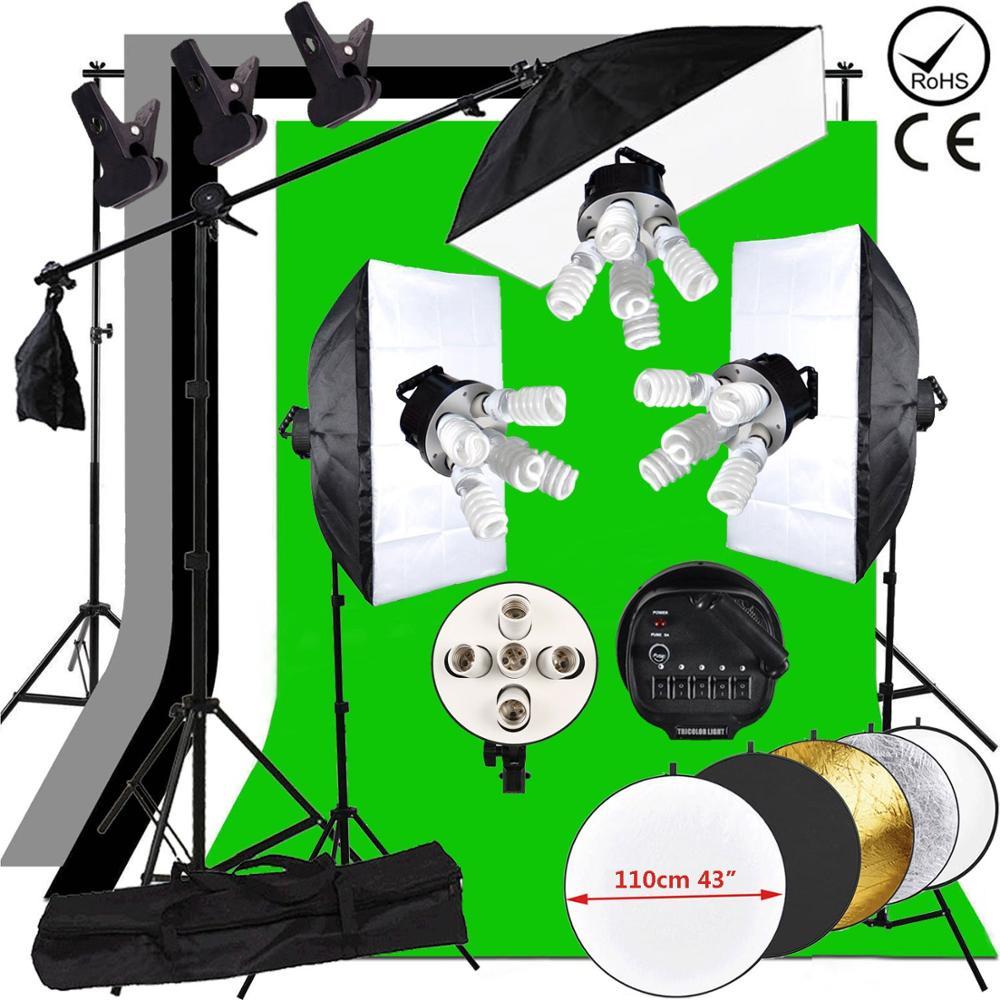 ZUOCHEN 3375W kit d'éclairage continu Studio Photo bras de flèche Softbox 4 arrière-plan et support