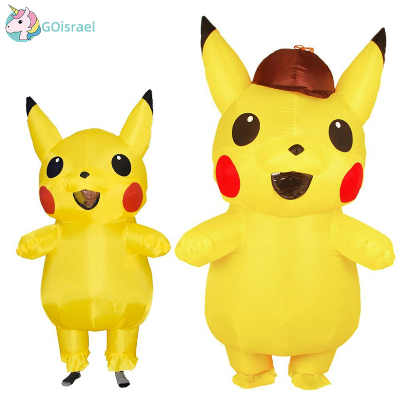 Inflatable Pikachu Costume Women Men Boys Girls Kids Adult Pokemon Halloween Party Carnival Cosplay Air Blown Outfit Purim Dress