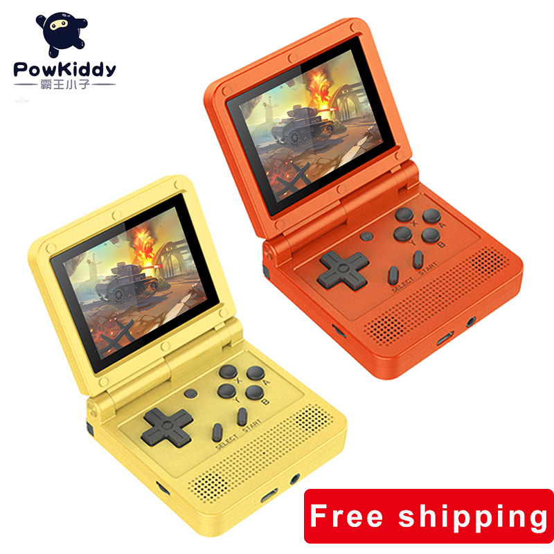POWKIDDY V90 Retro Flip Handheld Game Player 3.0 inch IPS LCD Mini Video Game Console Built-in 3000 Classic Game Game Player