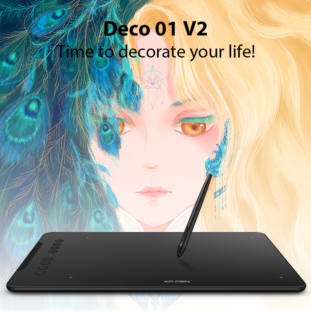 Award Winning XP-Pen Deco 01 V2 10'' Drawing Tablet Graphics Digital Tablet with Tilt Support with 8192 levels pressure Battery-Free Pen 1