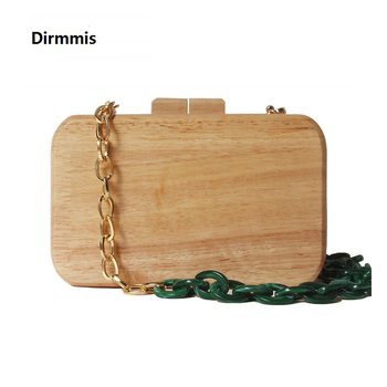2020 New Brand Fashion Women Messenger Bag Cute Handbag Solid Evening Vintage Wallet Acrylic Chain Wooden Casual Prom Clutch