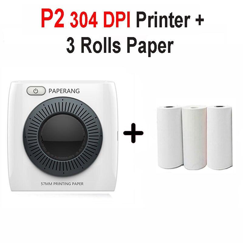 PAPERANG P2 карманный портативный Bluetooth фотопринтер мини 300 dpi термоэтикетка наклейка принтер для мобильного телефона P1 200 dpi - Цвет: P2 3 Pcs Paper