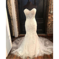 vestido de noiva Mermaid Wedding Dresses Nude Bra Sweetheart Bride Dresses Appliques vestido de noiva sereia Chapel Train