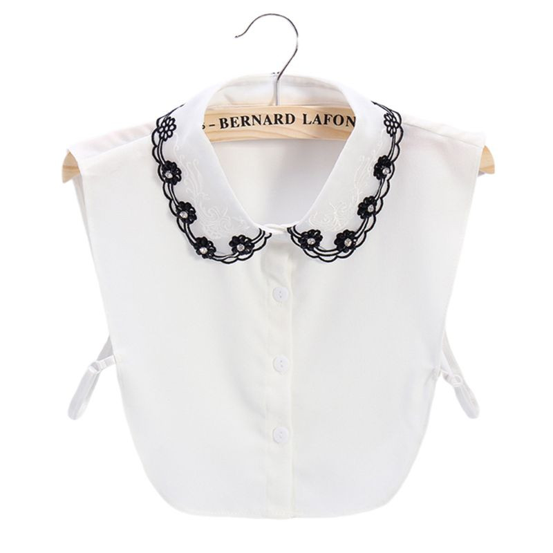 Women Faux Crystal Beaded Flower Fake Collar Hollow Out Embroidery Half-Shirt