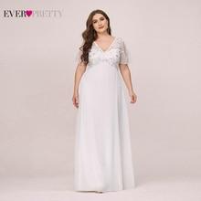 PlusขนาดSequinedชุดราตรียาวPretty A Line Vคอแขนสั้นElegant Party Gowns Abiye Gece Elbisesi 2020
