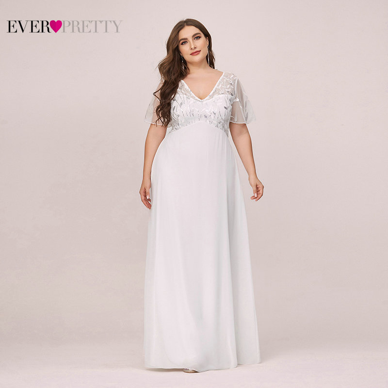 Plus Size Sequined Evening Dresses Long Ever Pretty A-Line V-Neck Short Sleeve Elegant Party Gowns Abiye Gece Elbisesi 2020