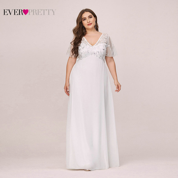 Plus Size Sequined Evening Dresses Long Ever Pretty A-Line V-Neck Short Sleeve Elegant Party Gowns Abiye Gece Elbisesi 2020 - discount item  40% OFF Special Occasion Dresses