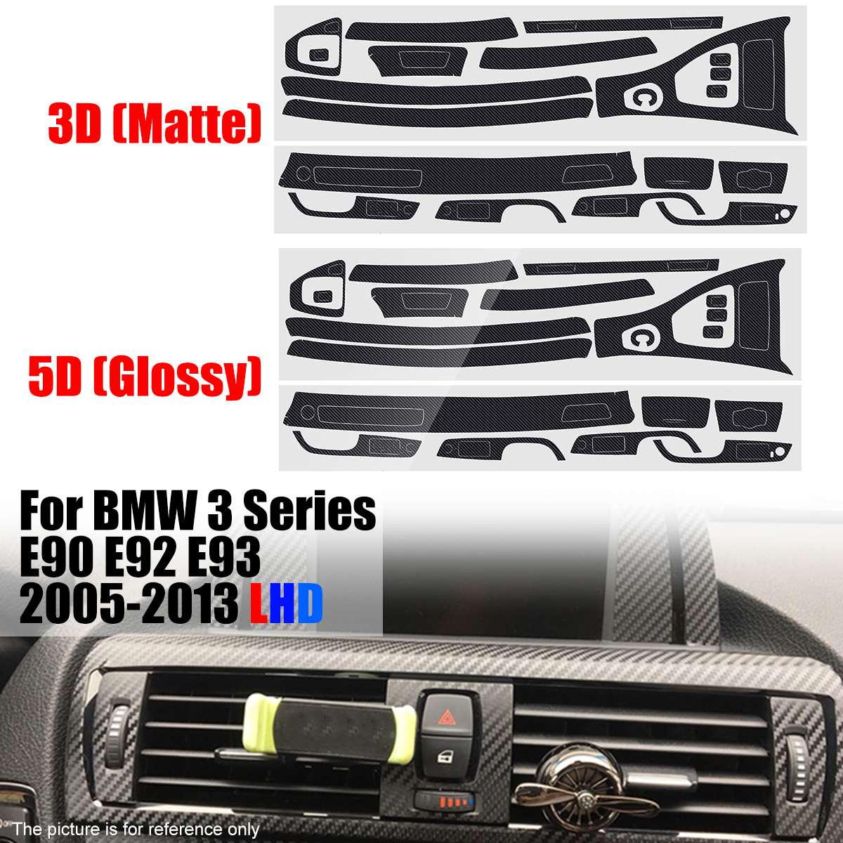 Matte/Glossy Sticker Carbon Fiber Interior Central Control Console Trim For BMW 3 Series E90 E92 E93 2005-2013 LHD Only