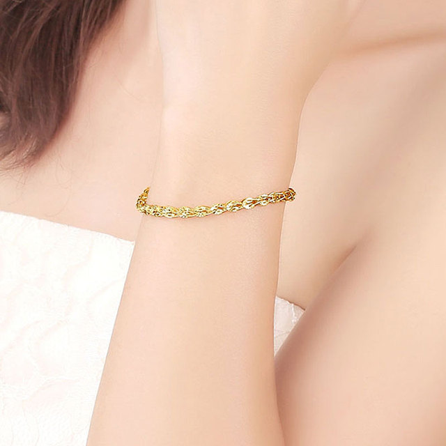 Glitzy Sparkling 18K True Solid Genuine Gold AU750 Yellow Phoenix Tail Chain Bracelet for Women Girl Party Fine Upscale Jewelry 5
