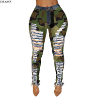2019 New Autumn Winter Female Denim Pants Women Skinny Hole Spliced Camouflage Print Jeans Sexy pencil Bandage Trousers HSF2096 1