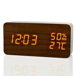 Image 5 - Reloj despertador LED Simple y moderno fibisonico reloj De mesa con Control De sonido electrónico y temperatura De humedad